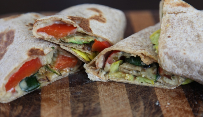 Roasted Red Pepper Hummus Wrap - A quick and easy lunch. Perfect vegetarian meal for a meatless monday.