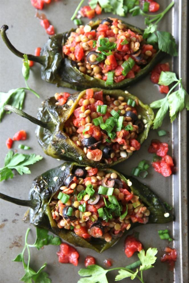 Lentil Stuffed Poblanos (Vegan + Gluten Free)