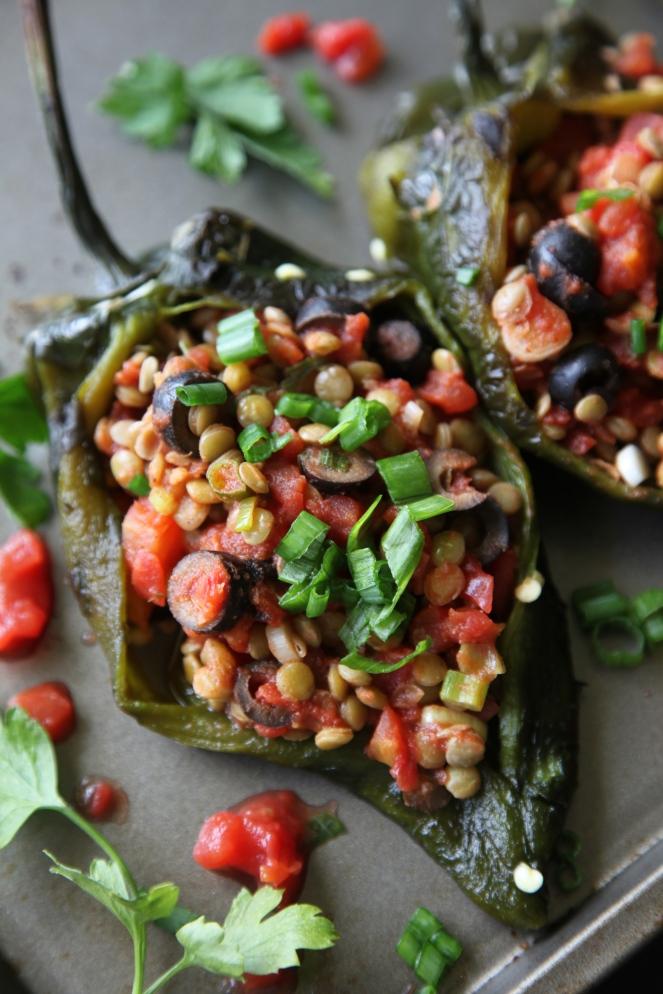 Lentil Stuffed Poblano Peppers (Vegan + Gluten Free)